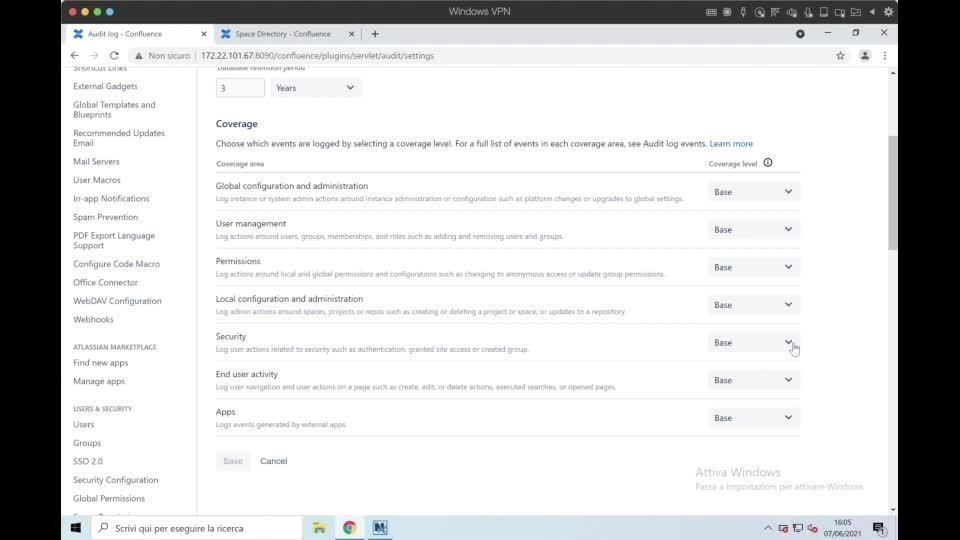 Confluence for admin- audit log