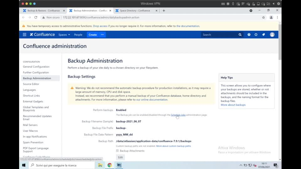 Confluence for admin- back up and restore
