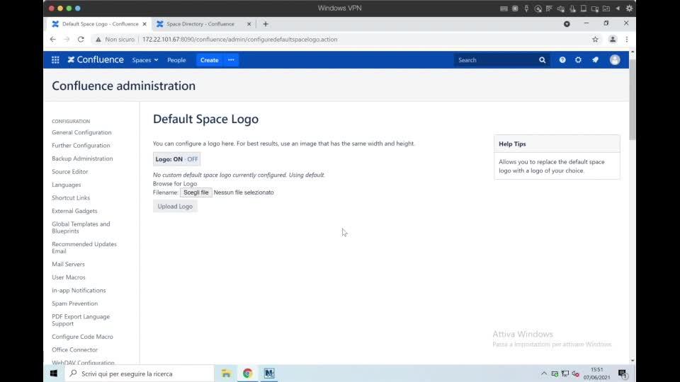 Confluence for admin- default logo and custom HTML