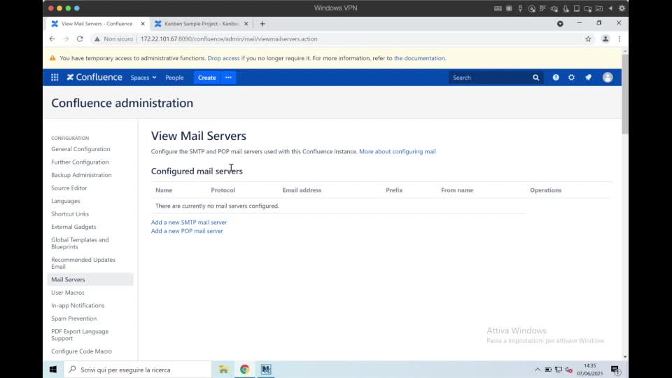Confluence for Admin- email notification and email server